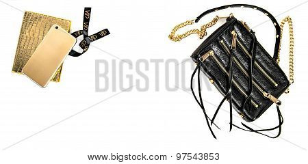 Fashion Mock Up With Business Lady Accessories. Shopping Concept