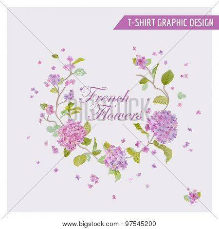 Floral Wreath Graphic Design - for t-shirt, fashion, prints - in vector