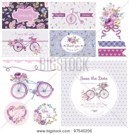 Scrapbook Design Elements - Wedding Party Flowers and Bicycle Theme - in vector
