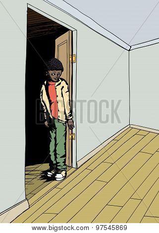 Teenager In Doorway