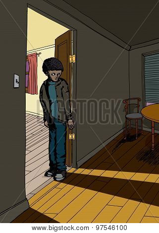 Shadow Of Teen In Doorway