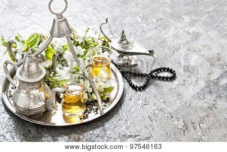 Islamic Holidays Decoration. Tea, Arabian Lantern And Rosary