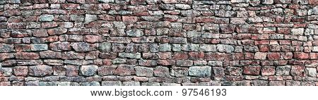 Stone Wall Panorama, Panoramic Stonewall Pattern Background, Old Aged Weathered Red And Grey Grunge