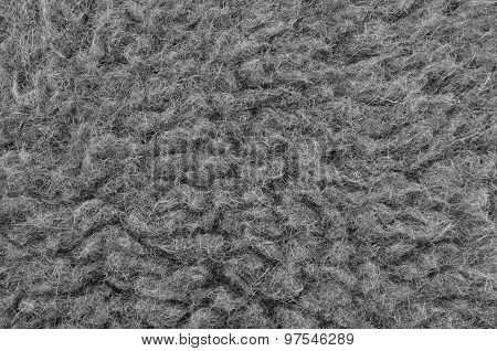 Raw Merino Sheep Wool Macro Closeup, Large Detailed Grey Textured Pattern Copy Space Background