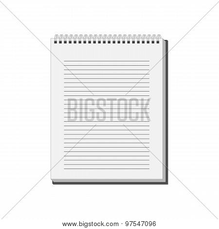 Blank Spiral Notepad Notebook With White Lined Pages