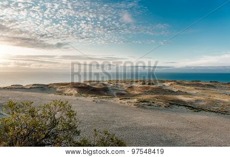 Sunrise Over Dunes And Baltic Sea. Curonian Spit, Nida, Lithuania.