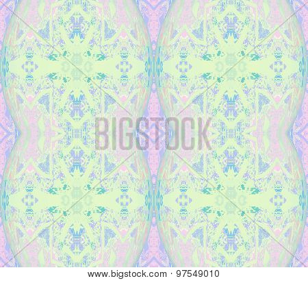 Seamless ornaments pastel green pink
