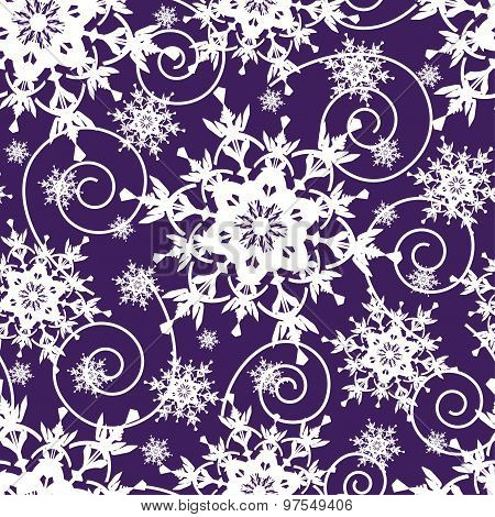 Bright Dark Blue Seamless Pattern With Snowflakes