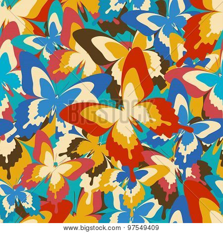 Bright Vintage Seamless Pattern With Butterflies