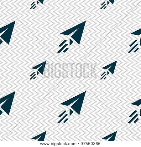 Paper Airplane Icon Sign. Seamless Pattern With Geometric Texture. Vector