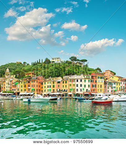 Portofino Village On Ligurian Coast, Italy, Mediterranean Sea