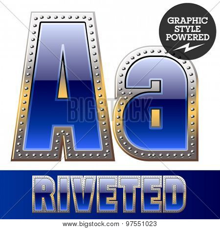 Vector set of font in blue color with riveted border. Letter A