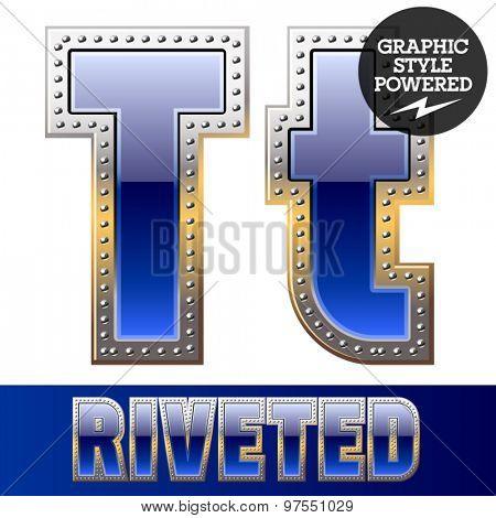 Vector set of font in blue color with riveted border. Letter T