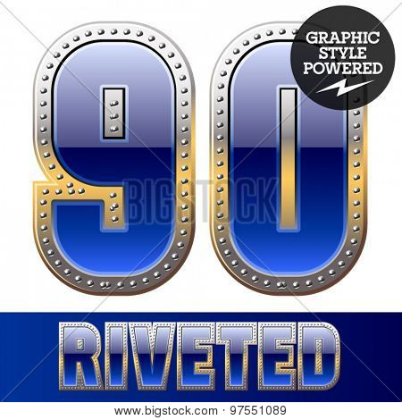 Vector set of font in blue color with riveted border. Numbers 9 0