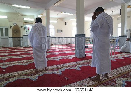 Muslims Praying With Ihram.
