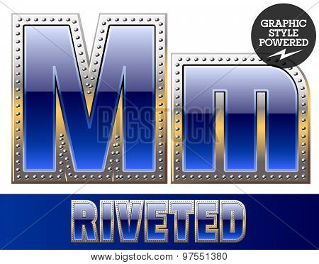 Vector set of font in blue color with riveted border. Letter M