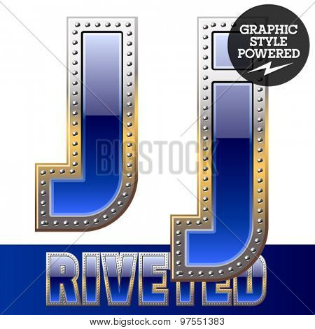 Vector set of font in blue color with riveted border. Letter J