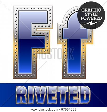 Vector set of font in blue color with riveted border. Letter F