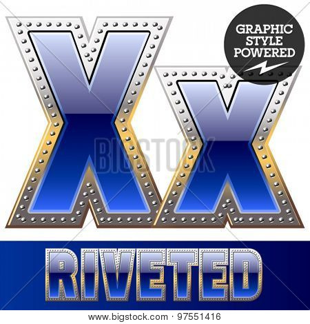 Vector set of font in blue color with riveted border. Letter X