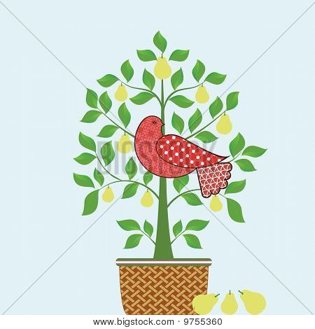 Partridge In A Pear Tree With Basket