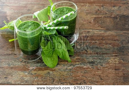Fresh Green Spinach Leaves And Smoothie Drink. Healthy Food