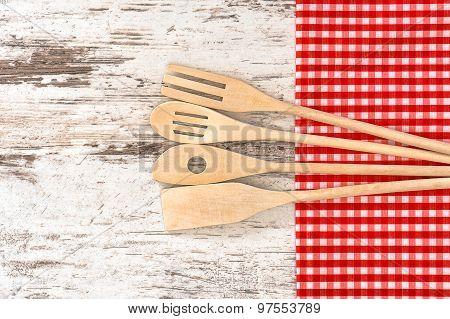 Wooden Kitchen Utensils. Tools For Food Preparation
