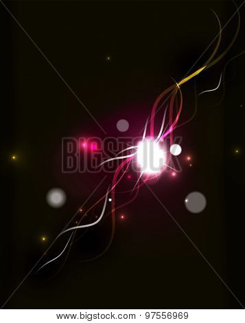 Glowing flowing waves and stars in dark space. Vector illustration. Abstract background