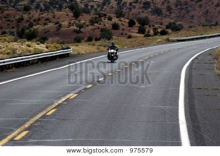 Motorbike On Highway