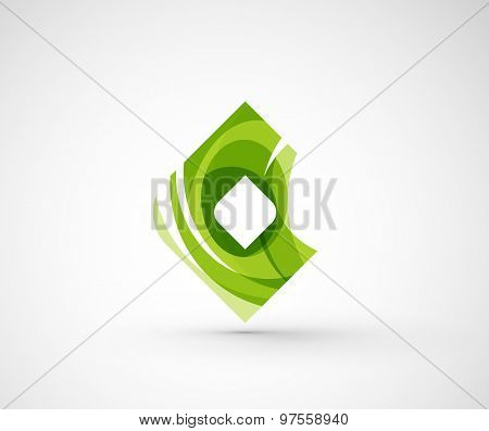 Abstract geometric company logo square, rhomb. Vector illustration of universal shape concept made of various wave overlapping elements