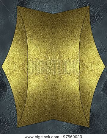 Abstract Blue Background With A Gold Plate. Element For Design. Template For Design.