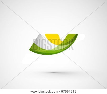 Abstract geometric company logo. Vector illustration of universal shape concept made of various wave overlapping elements