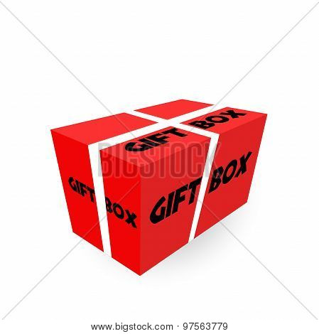 Yellow Realistic Package Cardboard Box With Ribbon. Vector