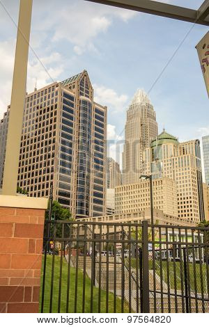 Charlotte North Carolina City Skyline From Bbt Ballpark