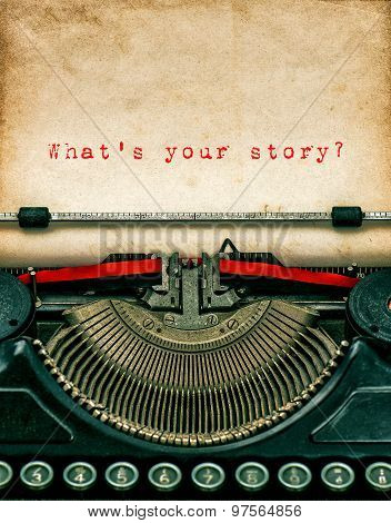 Vintage Typewriter With Textured Grungy Paper. Your Story