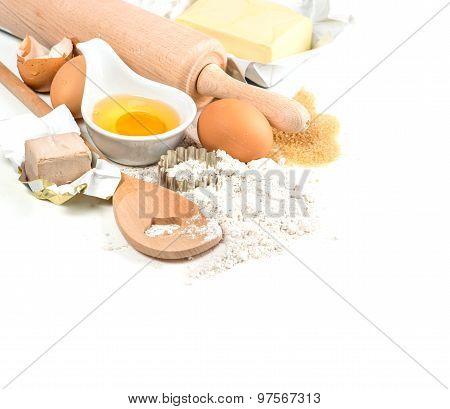 Baking Ingredients Flour, Eggs, Yeast, Sugar, Butter. Food Background