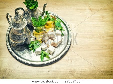 Mint Tea With Arabic Delight. Oriental Hospitality. Vintage Style