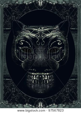 Creepy Mask Portrait With Ornate Borders