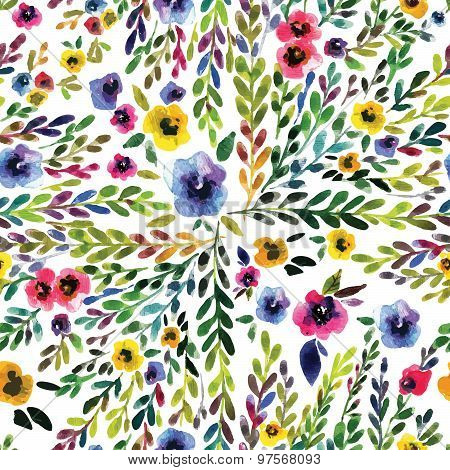 Watercolor seamless  pattern with pansies. Background for web pages, wedding invitations, save the d