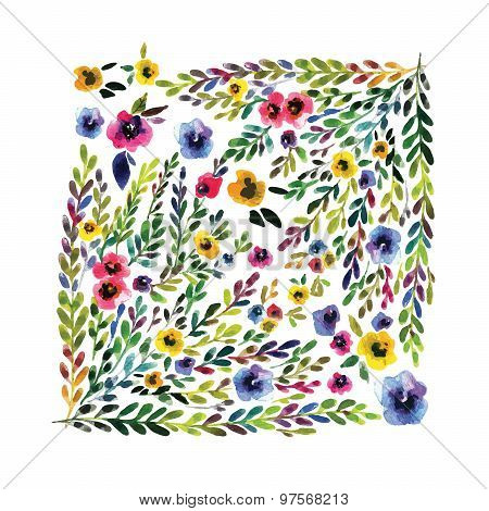 Vector floral card. Colorful floral banner with leaves and flowers, drawing watercolor