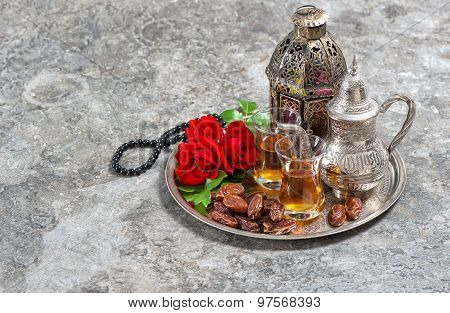Tea And Red Rose Flower, Arabian Lantern And Rosary. Islamic Holidays. Ramadan