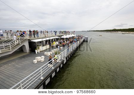 Unidentified Tourists On The Pier In Kolobrzeg