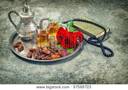 Tea And Red Rose Flower, Holy Book Quran And Rosary. Ramadan Kareem Vintage