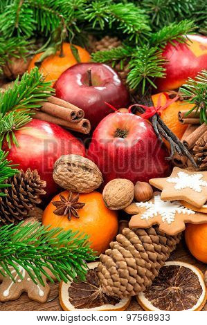 Christmas Food Background. Apples, Cookies And Spices