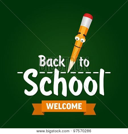 Cartoon pencil with text welcome back to school. Vector illustration.
