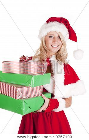 Santas Helper Holding Presents Looking