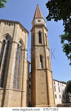 Bell tower of Arezzo Cathedral in Italy