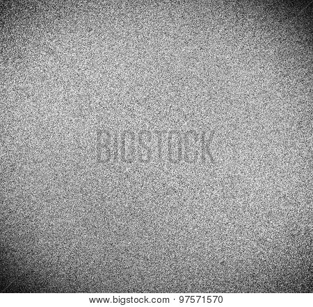 Abstract illustration background texture with seamless pattern of television grainy noise effect. TV screen no signal. Horizontal template rectangle, black and white perspective view.