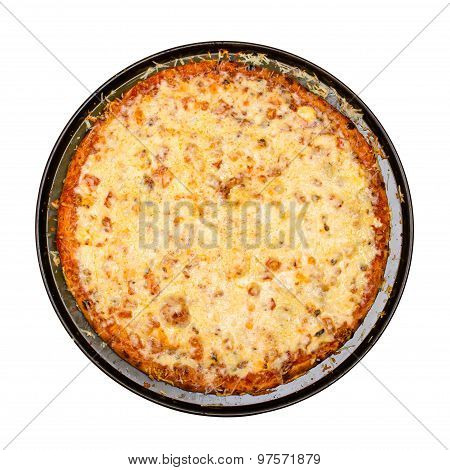 Pizza with cheese isolated on white