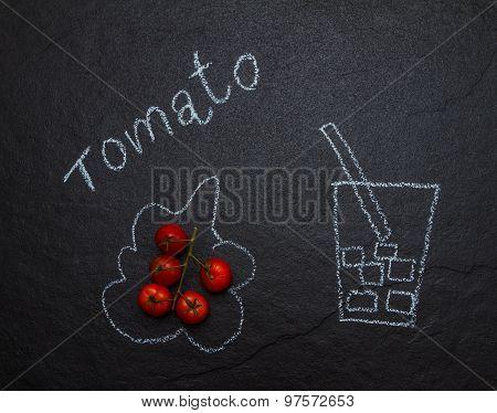 Tomato Juice And Fresh Tomatoes.