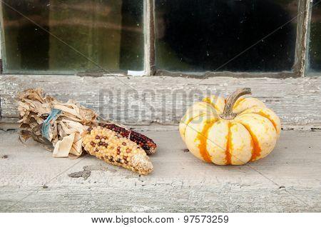 corn and pumpkin on window sill